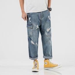 $enCountryForm.capitalKeyWord Australia - Men's Causl Style Plus Size Ripped Jeans Male Loose Cargo Denim Pants Casual Hole Ankle Length Pants hip hop Men's Jeans