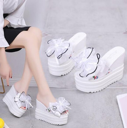 $enCountryForm.capitalKeyWord Australia - 2019 summer new high-heeled bow fashion women's slippers, muffin flip-flops, wedge with platform slippers, casual sandals