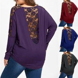 bf88060e74a Lace Stitching T-Shirt Long-sleeved Large Size Women s fat T-Shirt Loose  Cloth Women Back Pierced Package hip T-shirt LJJV155