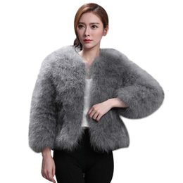 Wholesale Female Jacket Women Faux Fur Ostrich Feather Soft Fur Coat Jacket Fluffy Winter Xmax Warm Fashion Solid Big Size Outwear