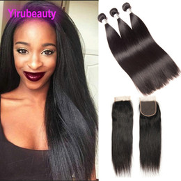 Discount straight hair middle closures - Malaysian Unprocessed Human Hair Extensions 8-30inch 3 Bundles With 4X4 Lace Closure Middle Three Free Part Straight Vir