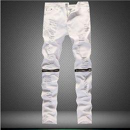 Wholesale white slim harem pants resale online – Men s Stretchy Ripped Skinny Biker Jeans Destroyed Slim Fit Denim Pants Mens Elastic Waist Harem Pants Men Jogger Clothes