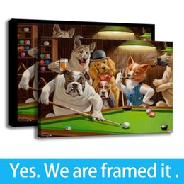 Art Canvas Prints Australia - Modern Framed Canvas Painting Wall Art Animal HD Print on Canvas Dogs Playing Pool - Living Room Decor - Ready To Hang Framed