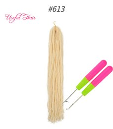 hair hooks Australia - DIY Dreadlocks Ombre Blonde Crochet Hair Extensions Synthetic Hair free hooks 18Inch Braiding Hair Sister Micro Locs Straight Faux Locs 2020