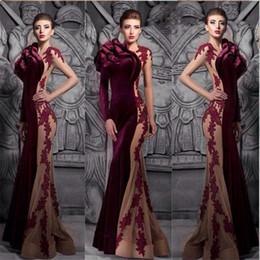 High Neck Dress Sale Australia - Burgundy hot sale mermaid velvet prom dresses 2018 winter fall sexy high neck court train formal evening gowns