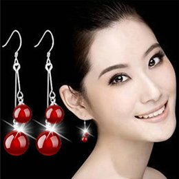 $enCountryForm.capitalKeyWord Australia - natural agate stone earring for women red bead pendant silver plated chain ear jewelry Long Earrings Bridal Wedding Pearl Jewelry