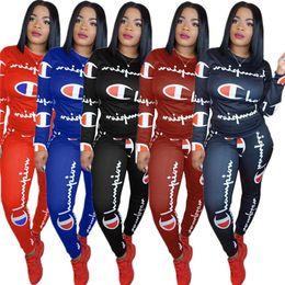 $enCountryForm.capitalKeyWord Australia - Full Champion Print Tracksuits Women Long Sleeve T shirt Hoodie Tops+ Pants Leggings Two Piece Outfits Junior Ladies Sportswear S-3XL C8902