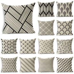 $enCountryForm.capitalKeyWord Australia - WZH Black White Simple Style Cushion Cover 45x45cm Linen Decorative Pillow Cover Sofa Bed Pillow Case