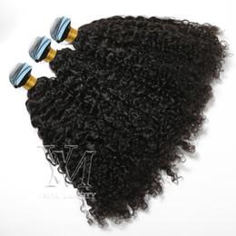 Venta al por mayor de 2,5 g / pieza afro rizado rizado pegamento de la cinta Ins extensiones de cabello humano VMAE Mongolia cutícula Alineados Vrigin natural del pelo Negro 100g