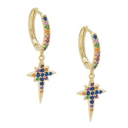 Hoop earring wHite gold small online shopping - multi color small hoop with star charm dangle earring Gold plated fashion delicate cute girl women trendy jewelry