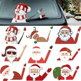 High Quality Christmas Decoration Santa Claus 3D PVC Waving Car Stickers Styling Window Wiper Decals Rear Windshield Decoration