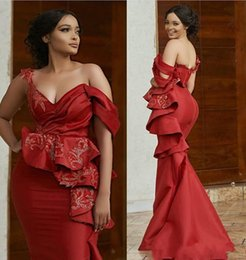luxury pageant sashes NZ - Sexy Red Off Shoulder Mermaid Evening Dress Luxury Arabic Lace Appliqued Sheath Prom Dresses Long Formal Party Pageant Gown