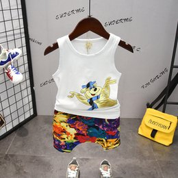 $enCountryForm.capitalKeyWord Australia - Toddler Boys Clothing Set Summer Cartoon Clothing Set Sleeveless T-Shirt+ Printing Flower Hip Pants Sportswear Kids Clothes 2019