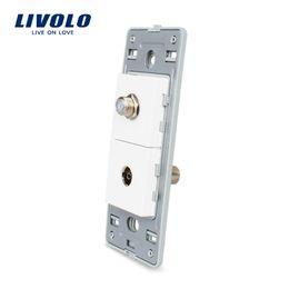 Function Connectors Australia - Livolo Elegant Life US Standard DIY Parts Plastic Materials Function Key, TV and Satellite TV Socket Base