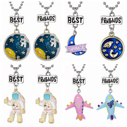 "$enCountryForm.capitalKeyWord Australia - 2PCS Pair ""Best Friend"" Plane Space Universe Pendant Necklaces Kids Imitation BFF Necklace For Children Jewelry Birthday Gifts"