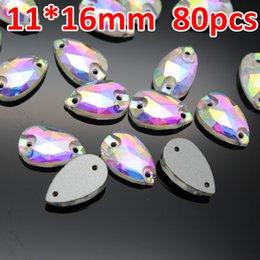 $enCountryForm.capitalKeyWord Australia - 11*16mm 80pcs Teardrop Sew on Stone Crystal Clear AB Flatback Droplet Sewing on Crystal 2 holes For Wedding Dress Garment