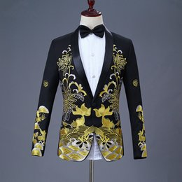 Wholesale mens floral blazers resale online - XIU LUO XXL Mens Black Gold Blazer Chinese Style Floral Fish Embroidery Blazer Shawl Collar Male Stage Wear Prom Blazers