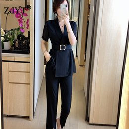summer two piece sets women NZ - Elegant Office Lady Two piece Outfits Summer Set for Women 2020 New Fashion Short Sleeve Blazer and Pants Suit Matching Sets