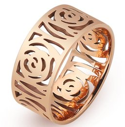 $enCountryForm.capitalKeyWord Australia - Brand Design Rose Gold Color Hollow Out Camellia Flower Element Fashion Woman Finger Ring Wholesale drop shipping