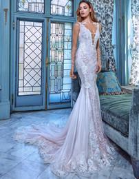 $enCountryForm.capitalKeyWord Australia - 3D Lace Mermaid Wedding Dresses Vestido de Novia Sheer Illusion Neckline Long Sleeve Wedding Dress Bridal Gowns See Through Bride Gown