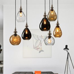 Coffee bedroom online shopping - Vintage Glass Pendant Lights Nordic Loft Led Pendant Lamp Coffee Droplight Dinning Room Decor Hanging Lamp Suspension Luminaire