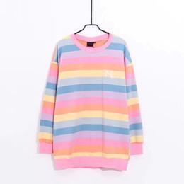 Ladies sweaters neck designs online shopping - MLbs Ladies Design Pullover ss Yankee Series Rainbow Contrast Stripe Loose Casual Sweatshirt High Quality Luxury Long Sleeve Sweater