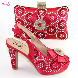 $enCountryForm.capitalKeyWord Australia - Italian Style Shoes And Matching Purse Set High Quality Rhinestones High Heels Shoes And Bag Set For Party
