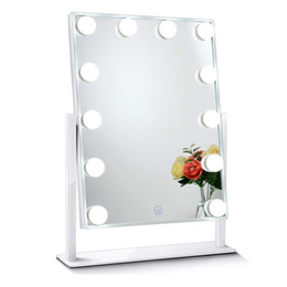 led makeup lights UK - Led Bulb Vanity Lighted Hollywood Makeup Mirror with Dimmer Stage Beauty Mirror Vanity Mirror with Lights