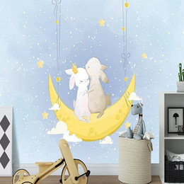 wallpaper cartoons Australia - Custom large mural 3D wallpaper Nordic cartoon moon bunny baby child bedroom mural TV back wall decor deep 5D embossed
