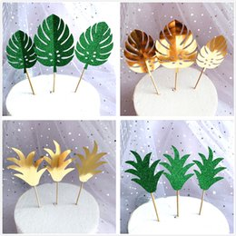 cupcake baking Australia - 10 Pcs set Monstera Leaf Cake Toppers Tropical Palm Leaves Cupcake Birthday Wedding Hawaiian Party Decorating Baking Supplies Y200618