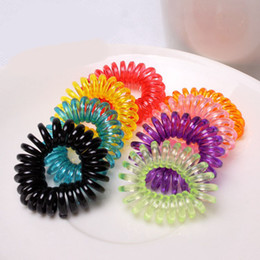 Black Hair Baby Girl Australia - Small Size Baby Girl Coil Hair Tie Telephone Wire Coil Elastic Hair Band Children Toddler Hairband Ponytail Holder Hair Accessories
