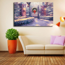 Framed Christmas Paintings Australia - Thomas Kinkade Christmas Gate Poster Canvas Painting Oil Framed Wall Art Print Pictures For Living Room Modern Home Decoracion Framework HD