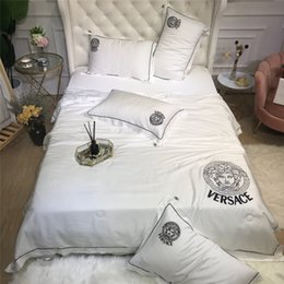 Hospital Bedding Australia - White Goddess Embroidery Comforter Sets Summer Queen Well Quality 4 Pieces Bedding Supplies For Europe and America