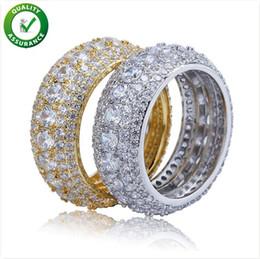 Дизайнер ювелирных изделий мужские золотые кольца хип-хоп оттаявшим кольцо микро проложили CZ Алмаз обручальное обручальное кольцо для мужчин женщин роскошный бренд