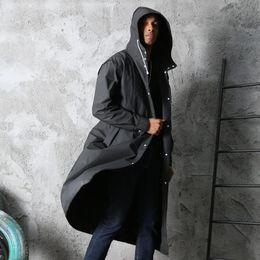 Clear Hooded Long Jacket Rain Coat EVA Adults Thicken Hooded Raincoat Women Men Outdoor Travel Transparent Rainwear Cloth Cover