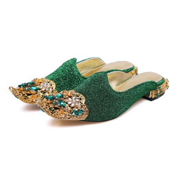 $enCountryForm.capitalKeyWord Canada - Free shipping 2019 Ladies leather pillage peep-toe shoes low Flat heels Flower diamond hollow out metal silppers sandals SHOE 34-43 Green 01