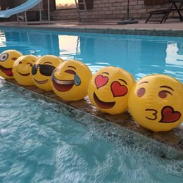 Pool Parties for kids online shopping - 12inch Emoji Face Beach Ball Inflatable Round for Water Play Pool PVC Toys Party supply Kids Gift LJJA2397
