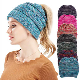 $enCountryForm.capitalKeyWord Australia - Fall winter new mixed color knitted wool hat ladies ponytail hat