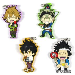 rubber chains NZ - Black Clover Original Japanese anime figure rubber Silicone mobile phone charms key chain strap