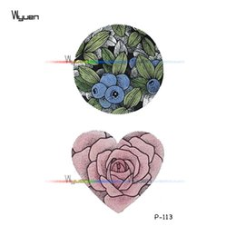 8ea3b33d2 Wyuen Design Flower Fruit Waterproof Temporary Tattoos on The Body Art  Translated Fake Tattoo Stickers Men Woman Arm P-113