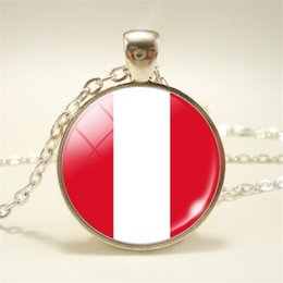 $enCountryForm.capitalKeyWord NZ - High Quality Minimalist Time Gem Glass Cabochon Peru National Flag World Cup Football Fan Pendant Necklace For Women Men Choker Jewelry Gift
