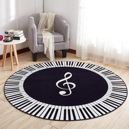 Music pianos online shopping - New Carpet Music Symbol Piano Keys Black White Round Carpet Anti Slip Rugs Home Bedroom Foot Pads Floor Decoration Decorative