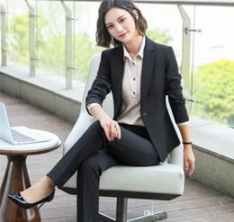 $enCountryForm.capitalKeyWord NZ - Women 2 Piece Set Formal Pants Suits Blazer Jacket Office Lady Work Business Coat Trousers 2018 Autumn Winter Clothing Plus Size 5XL 6009