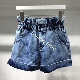 zipper buds Canada - Women High Waist Tie Dyed Denim Shorts Curling Loose Retro Elastic Buds Spring Summer New Female Shorts