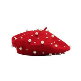 Red Berets UK - Temperament Elegant Woolen Beret Irregular Pearl Decoration Hat Ladies Fashion Painter Beret Hat