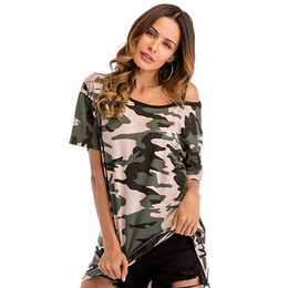 Wholesale women tunic tops resale online - Women Camouflage Tee Shirts Cold Shoulder T Shirt Summer Printed Loose Tops Girl Casual Tunics