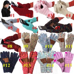 Warmest mittens online shopping - Ins Winter Knitted Label Gloves Touch Screen Gloves Confetti Patch Gloves Fashion Stretch Woolen Knit Warm Unisex Full Finger Mittens C91810
