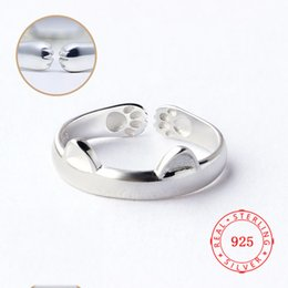 $enCountryForm.capitalKeyWord Australia - 925 Silver Pink Black Cat Ear Finger Ring Open Design Cute Fashion Jewelry Ring For Women Young Girl Child Gifts Adjustable Ring wholesale