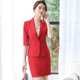 women working skirt suits Australia - IZICFLY Summer Style Red Blazer Women Set with Skirt Ladies Elegant Business Office Clothes Skirt Suit For Work Wear Plus Size