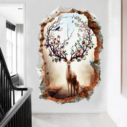 $enCountryForm.capitalKeyWord Australia - 1pc 50*70cm 3d wallpaper broken wall elk decorative stickers for kids living room bedroom porch corridor waterproof home decor stickers